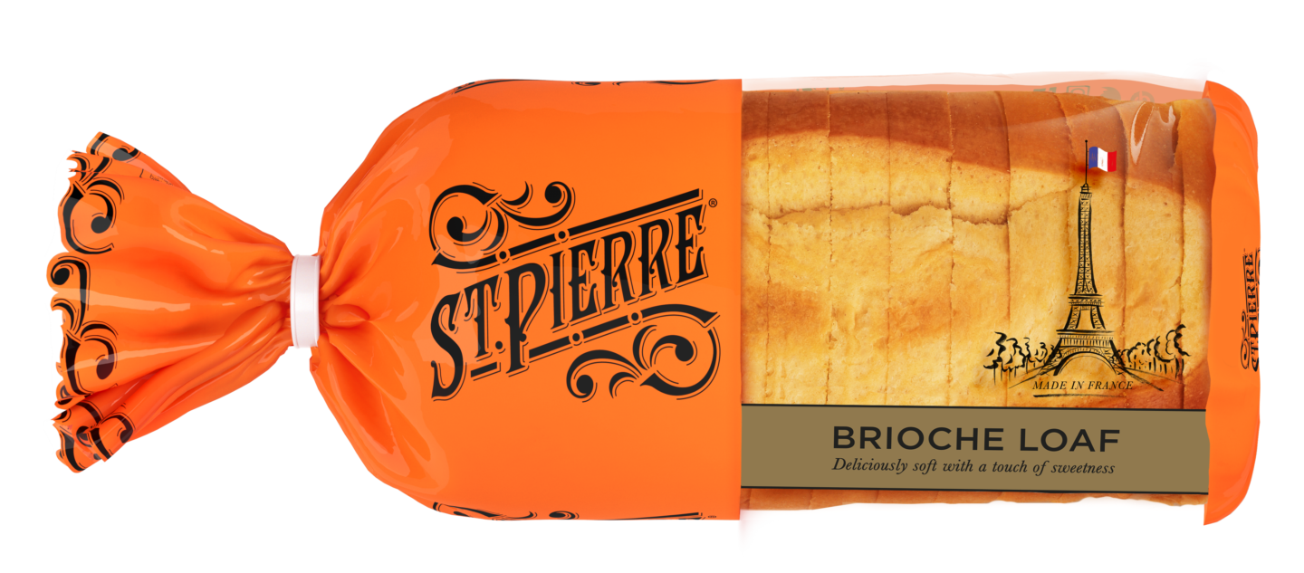 A St Pierre Sliced Brioche Loaf inside its packaging