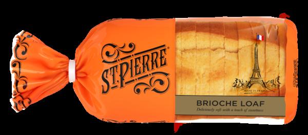 A St Pierre Sliced Brioche Loaf inside its packaging