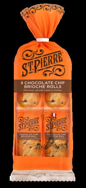 A pack of eight St Pierre chocolate chip brioche rolls
