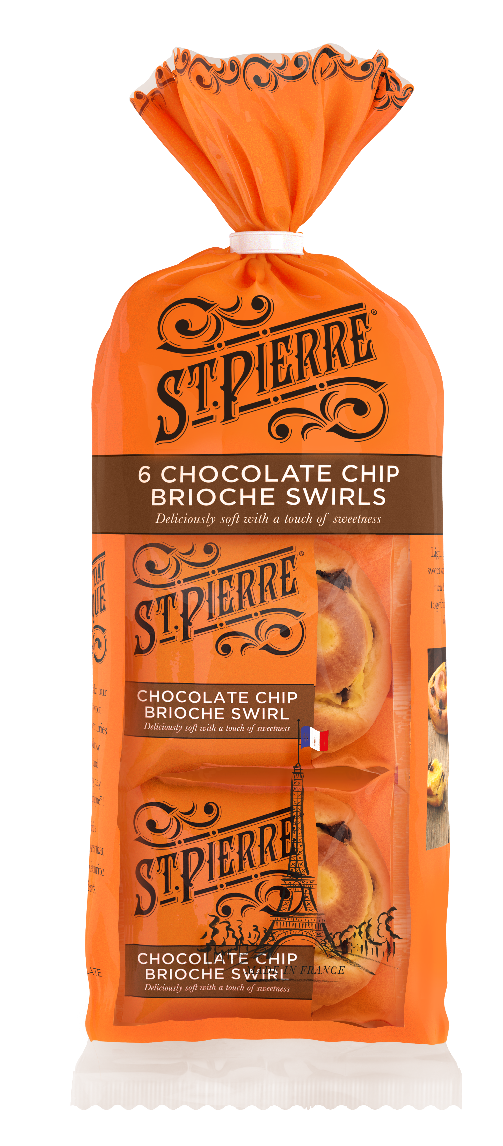 A pack of six St Pierre chocolate chip brioche swirls inside packaging
