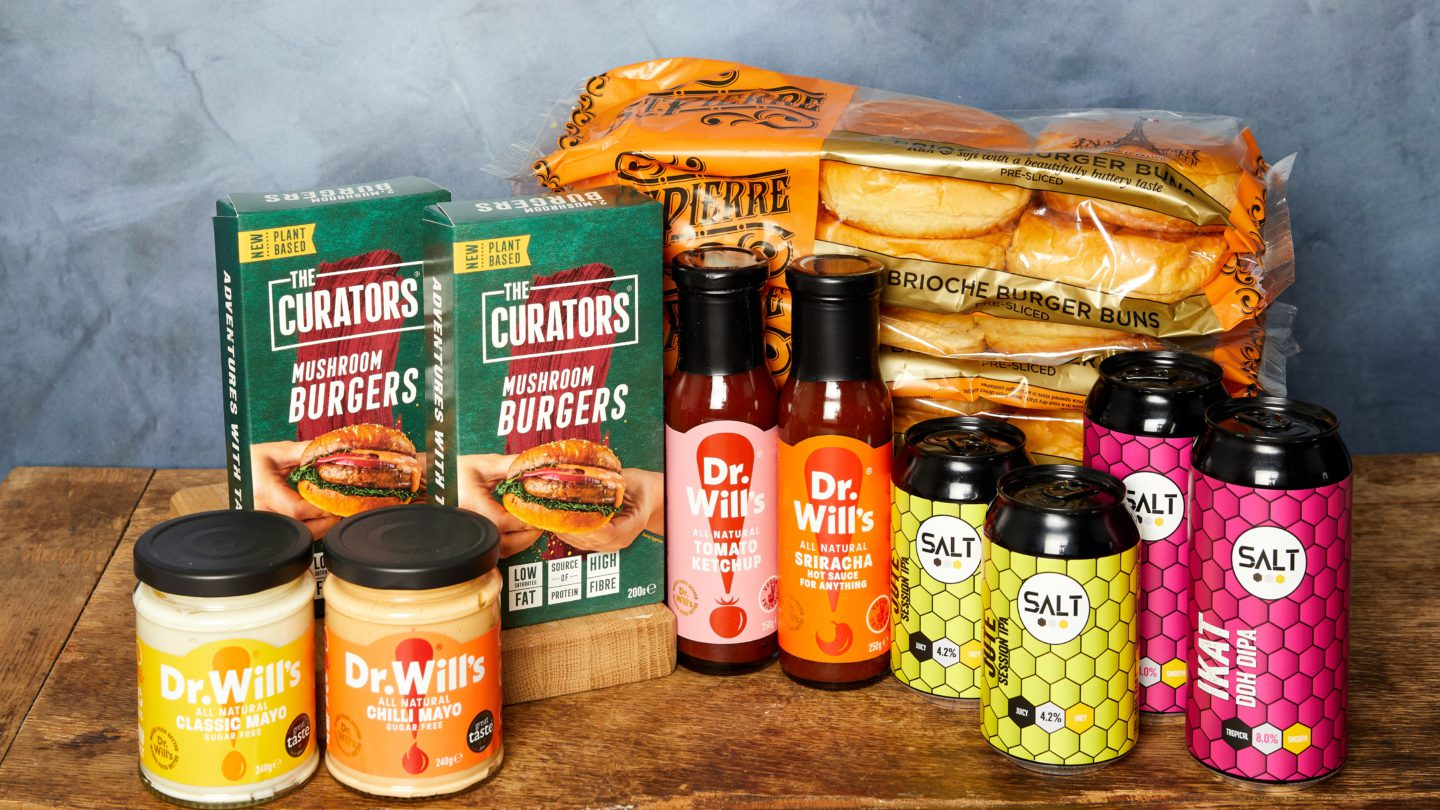 Ultimate burger kit competition prize including burger buns, sauces and beer