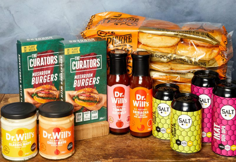Our ultimate burger kit competition prize featuring goodies from St Pierre, Dr Will's. The Curators and SALT Beer Factory