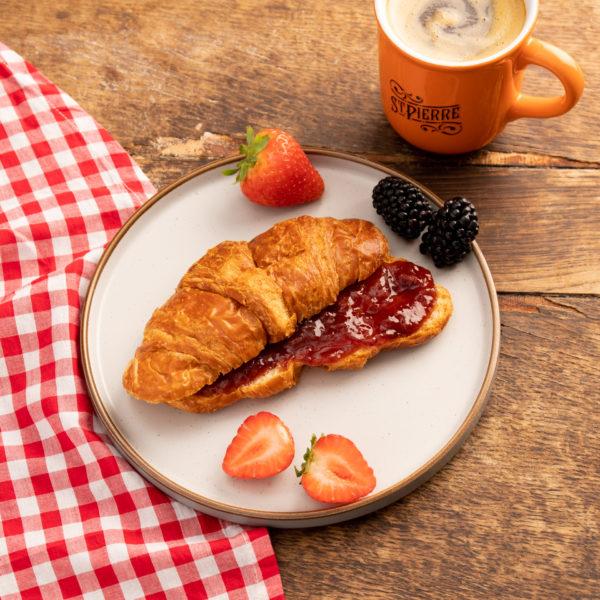 St Pierre Croissant With Bonne Maman Strawberry Jam